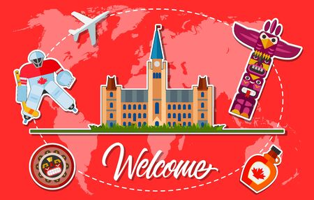 Welcome lettering with Parliament Hill, Canadian hockey goalie, totem, maple syrup on background with world map silhouette. Design elements can be used for postcards, banners, posters, invitation card