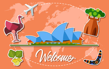 Welcome Lettering with Australian Symbols Illustration