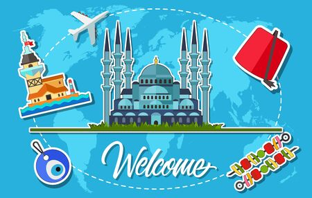 Welcome Lettering with Turkish Symbols Illustration