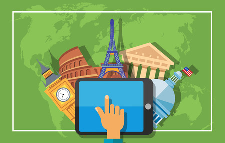Travel poster design. Hand using tablet, planning trip. Big Ben, Eiffel Tower, Parthenon, Colosseum, Capitol on background with world map silhouette. Design elements for posters, leaflets, banners
