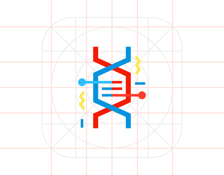 heredity: DNA Fragment as Genetics Concept Icon Illustration