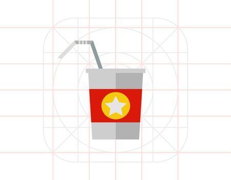 conveniently: Disposable cup with straw Illustration