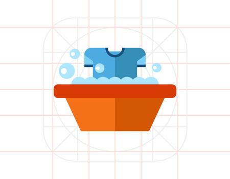 wash basin: Dirty T-shirt in Wash Basin Icon Illustration