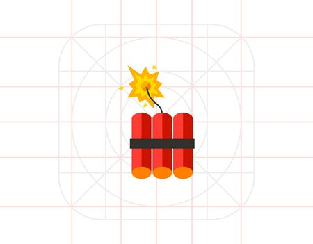 Dynamite icon. Multicolored vector illustration of batch of dynamite sticks with burning fuse