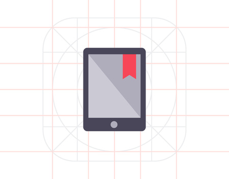 electronic book: Icon of electronic book with red tab