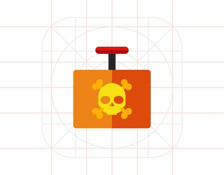detonator: Multicolored vector icon of explosive detonator with danger sign