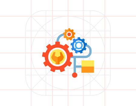 Multicolored vector icon of several gears of one mechanism representing engineering concept