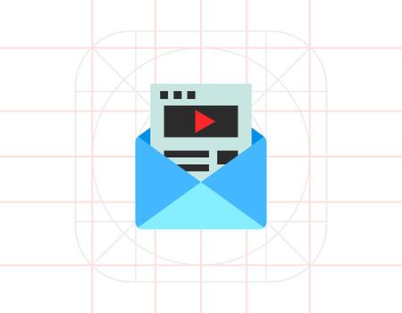 sending: Illustration of letter in envelope. Email marketing, message, sending email. Marketing concept. Can be used for topics like marketing, advertising, Internet