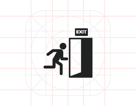 portone: Icon of exit sign with man figure running to doorway
