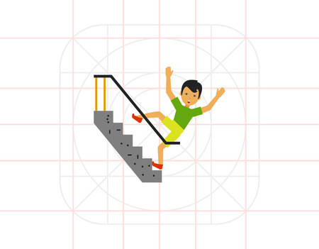 Falling Down Stairs Flat Icon Illustration