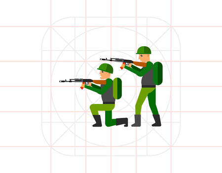 arming: Fighting Concept Icon with Military Men Illustration