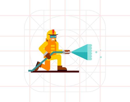 Firefighter flat icon Illustration