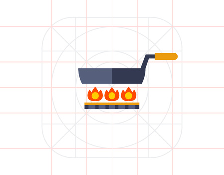 gas cooker: Frying pan on gas cooker Illustration