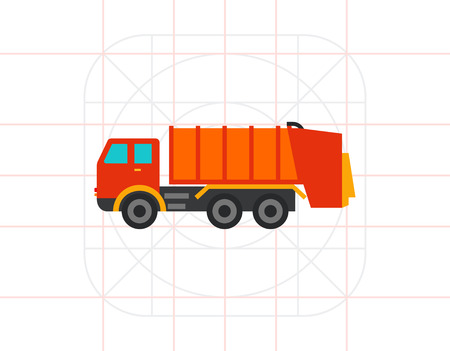 Multicolored vector icon of garbage dumping truck