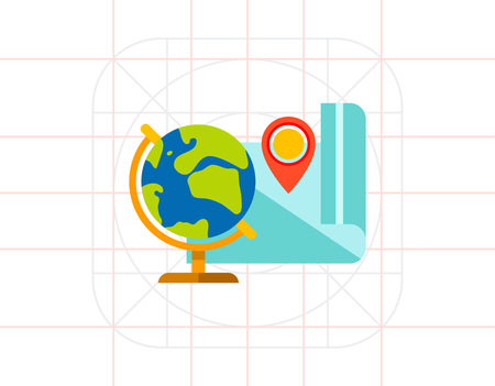 geography: Globe and Map as Geography Concept Icon