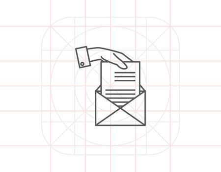 sending: Hand sending letter Illustration