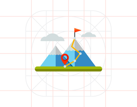 hiking trail: Hiking Trail in Mountains Icon