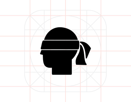 personality: Head with blindfold. Hunch, intuition, premonition, suspicion. Hunch concept. Can be used for topics like communication, psychology, personality