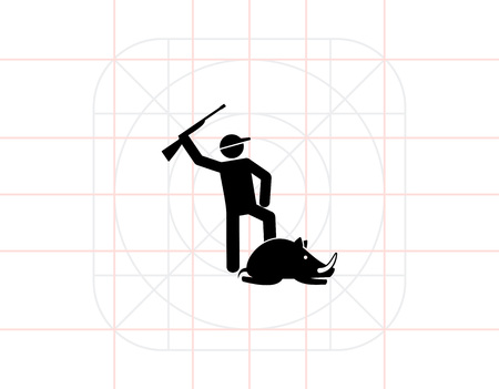 holding gun to head: Man holding gun above his head and lying wild boar. Hitting, pride, prey. Hunting concept. Can be used for topics like hunting, nature, biology. Illustration