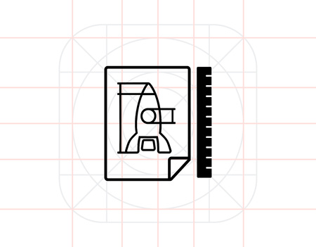 prototypical: Vector icon of paper sheet with racket draft and ruler behind it representing prototype concept