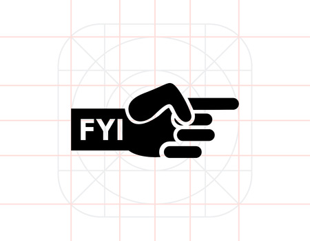 index finger: Vector icon of human hand with pointing index finger and FYI inscription