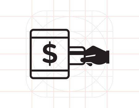 inserting: Vector icon of human hand inserting credit card into ATM with dollar sign