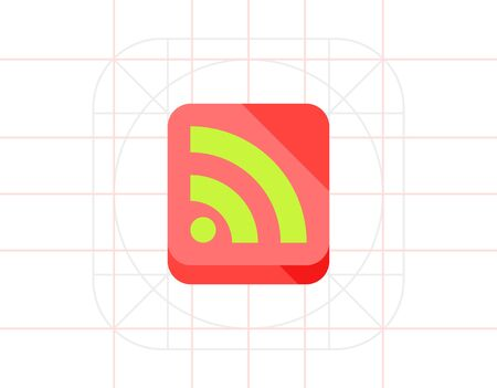 syndication: Illustration of green Internet feed sign in coral square. Web feed, network, content. Internet feed concept. Can be used for topics like social media, website, network