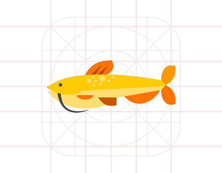 barbel: Isolated catfish. Catch, water, wildlife. Fish concept. Can be used for topics like fishing, zoology, cooking. Illustration
