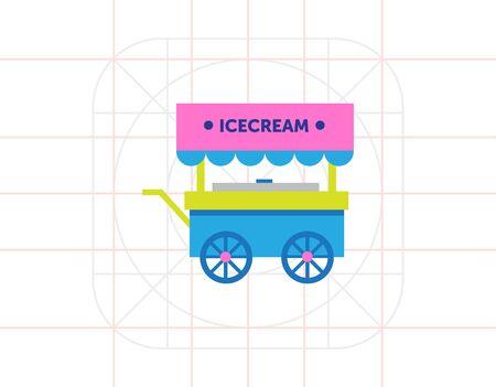 carretto gelati: Multicolored vector icon of ice cream cart