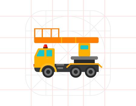 hydraulic platform: Industrial elevator icon Illustration