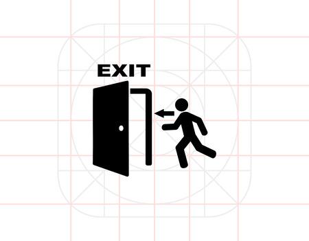 Emergency exit simple icon Illustration