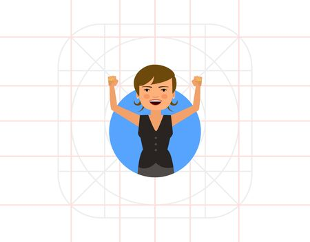 pinafore: Excited businesswoman with hands up Illustration
