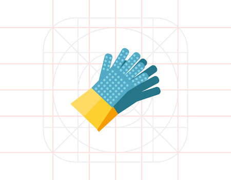 serviceable: Multicolored vector icon of pair of household gloves with gripper dots on fingers and palm Illustration