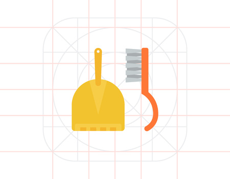 Dustpan and sweeping brush Illustration