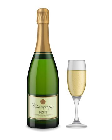 Corked Champagne Bottle and Full Glass Illustration