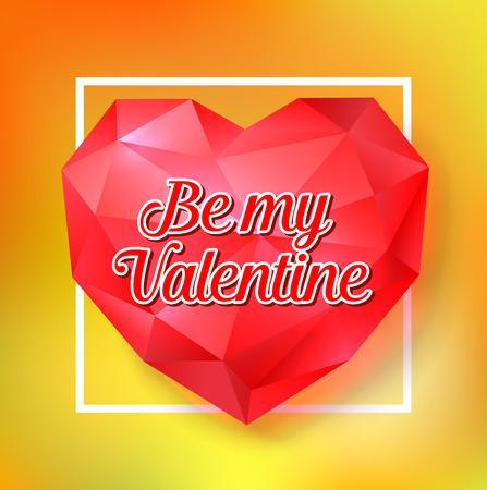 coeur diamant: Be My Valentine Lettering on Diamond Heart