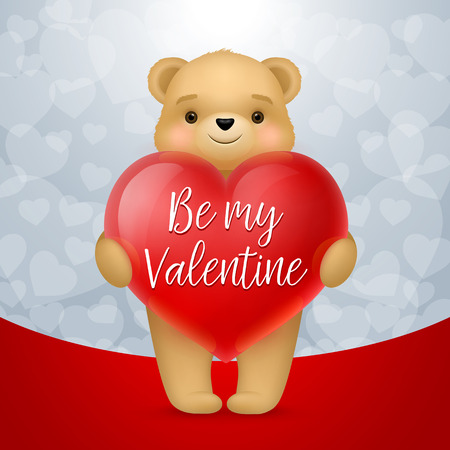 Be My Valentine lettering on heart. Saint Valentines Day greeting card with teddy bear. Handwritten text, calligraphy. For greeting cards, posters, leaflets and brochures. Illustration
