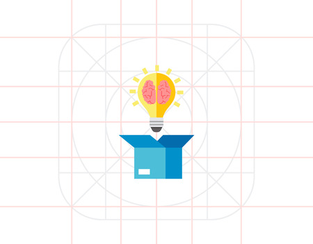 wit: Box and Brain Vector Icon Illustration