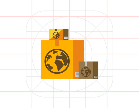 Boxes with Airmail Sign Icon Illustration