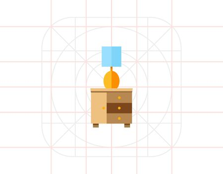 bedside: Bedside Table with Night Lamp Icon Illustration
