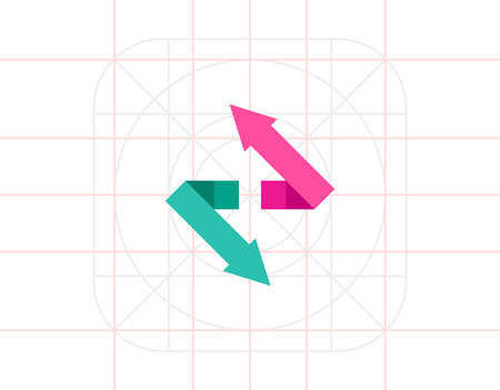 flèche double: Double Arrow Vector Icon Illustration