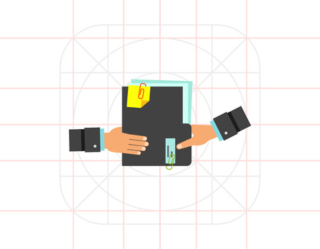 passing: Hand Giving Folder with Documents Icon