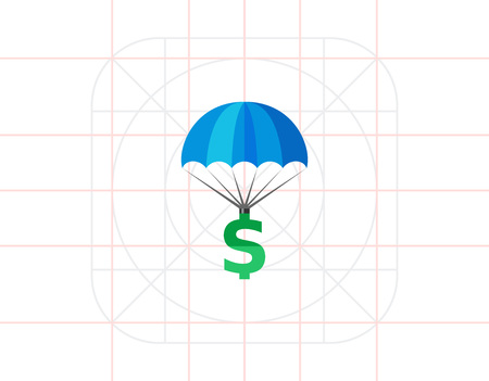 bailout: Dollar sign parachuting. Investment, profit, wealth. Insurance concept. Can be used for topics like banking, business, finance, economics. Illustration