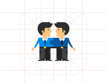cohesion: Linked Men as Team Cohesion Concept Icon Illustration