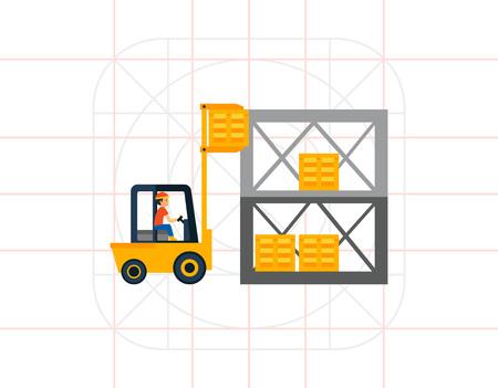 Logistics Warehouse and Forklift Icon Illustration