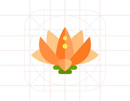 Lotus Flower Icon Illustration