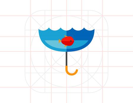 London Rain Concept with Umbrella Icon