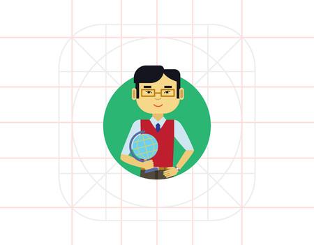 waistcoat: Male teacher with globe Illustration