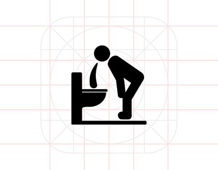 vomiting: Man Vomiting over Toilet Icon Vectores