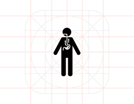 reflux: Man Suffering from Reflux Icon Illustration